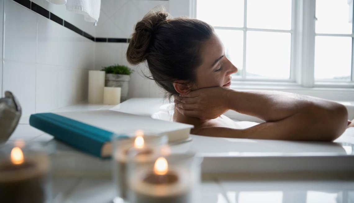 Healthy, Turn Home into Wellness Retreat, AARP, Woman Relaxing in Tub