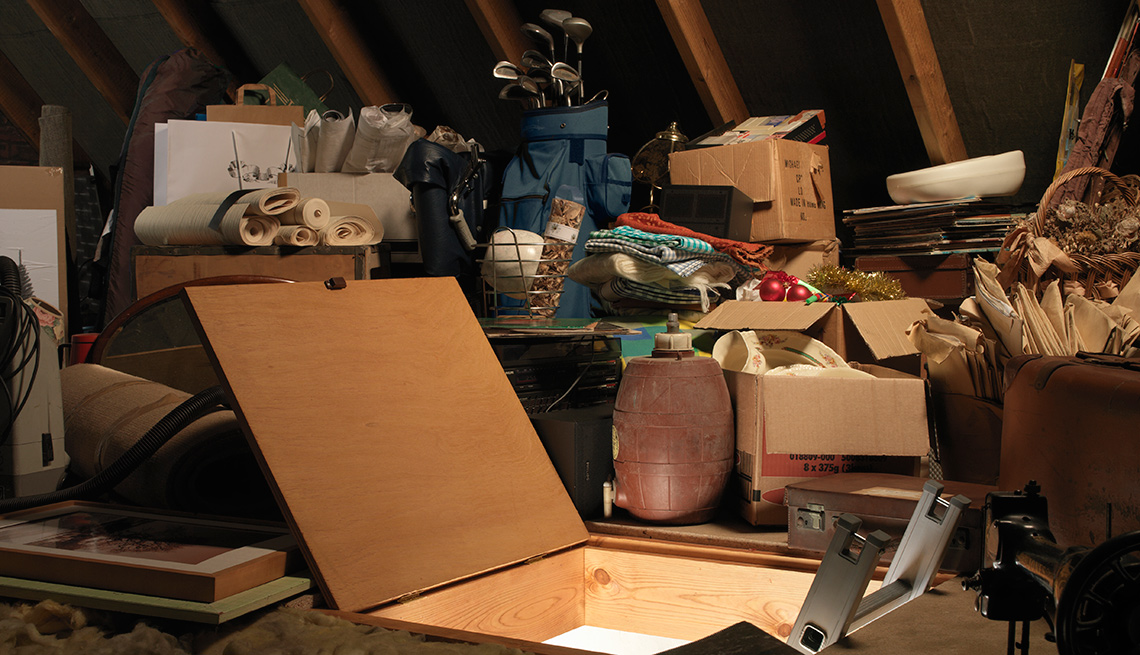 attic trapdoor and clutter