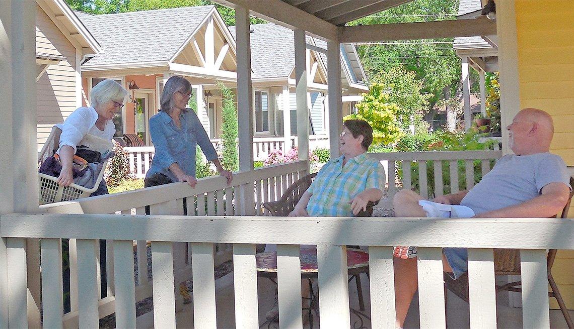 Residents of Oakcreek Community enjoying visiting outdoors