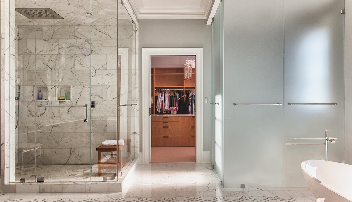large luxury bathroom with steam shower