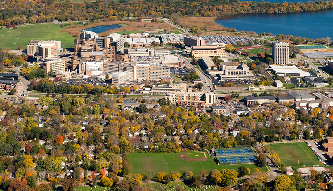 An aerial view of Madison, Wisconsin,  the UW Hospital and VA Hospital complex, surrounded by Lakes Mendota.