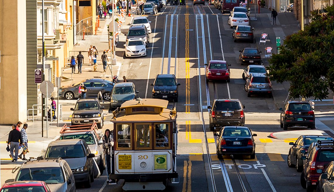 A street car on a San Francisco street.
