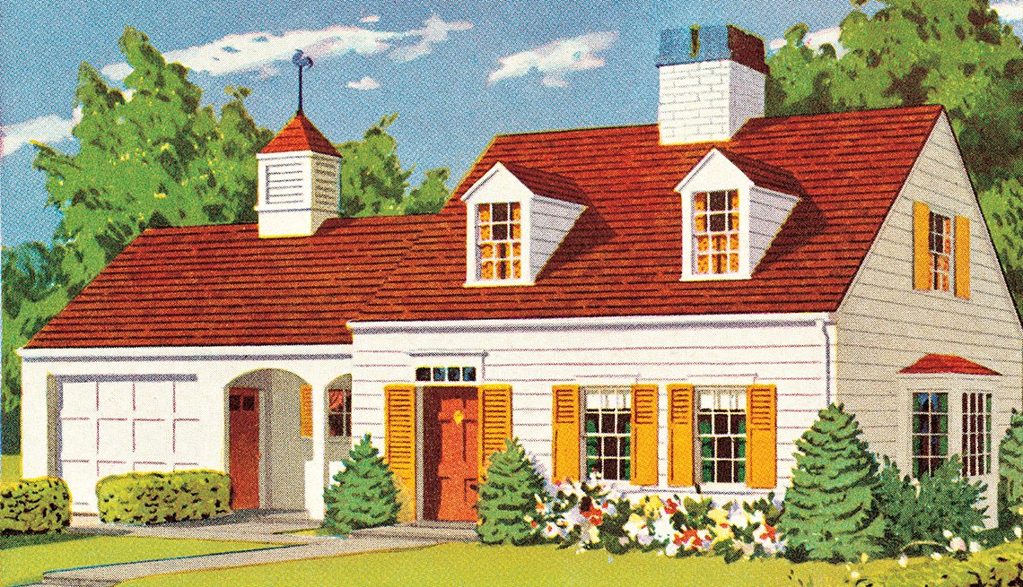 An illustration of a house with a single car garage.