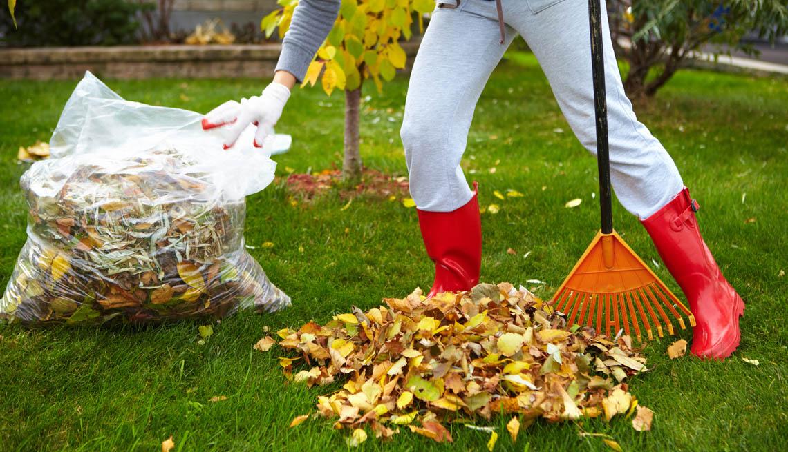 Mujer con botas rojas recoge hojas de otoño con un rastrillo.