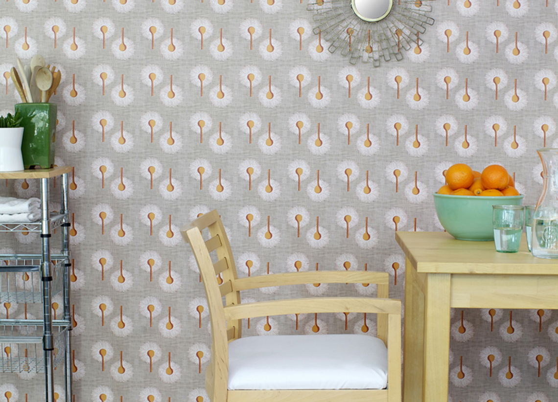 Pattern wallpaper in a kitchen