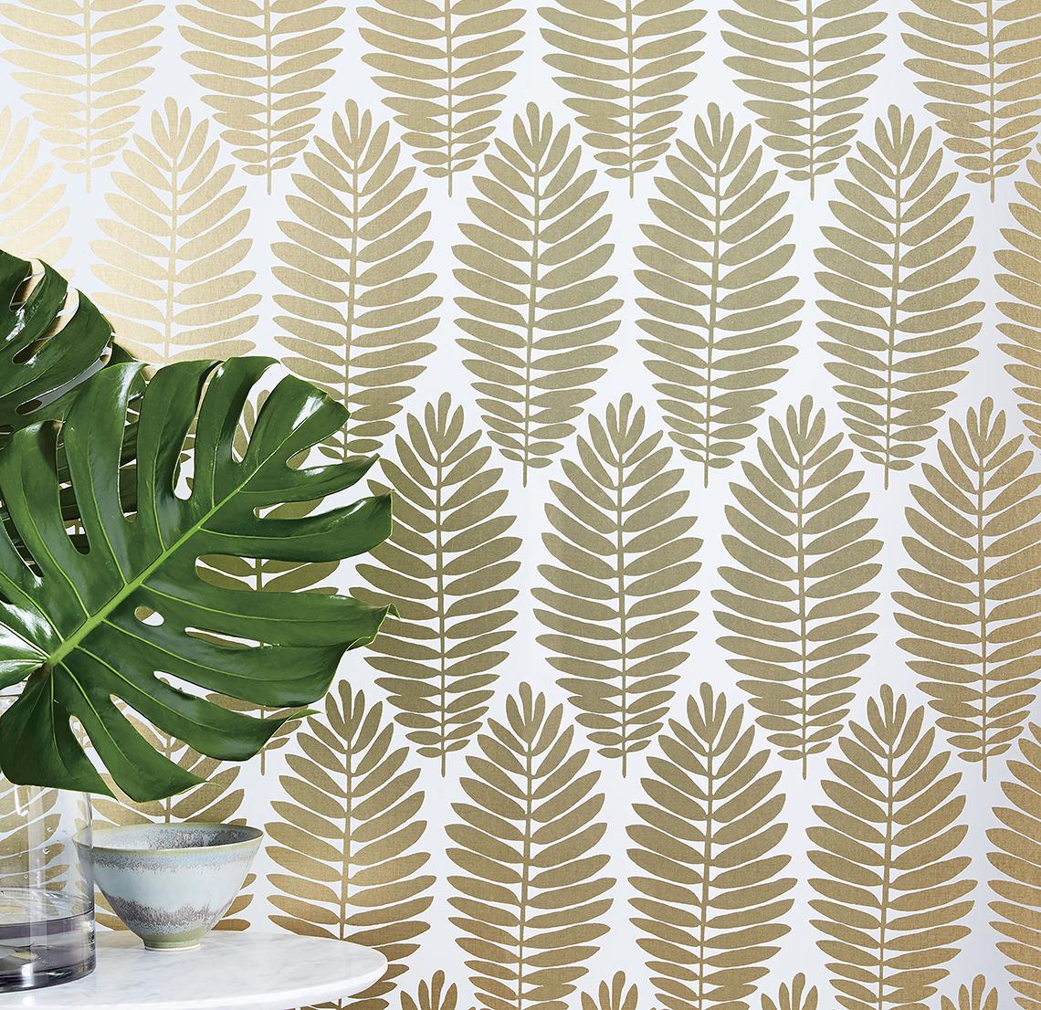 Gold Leaf Wallpaper In A Bathroom