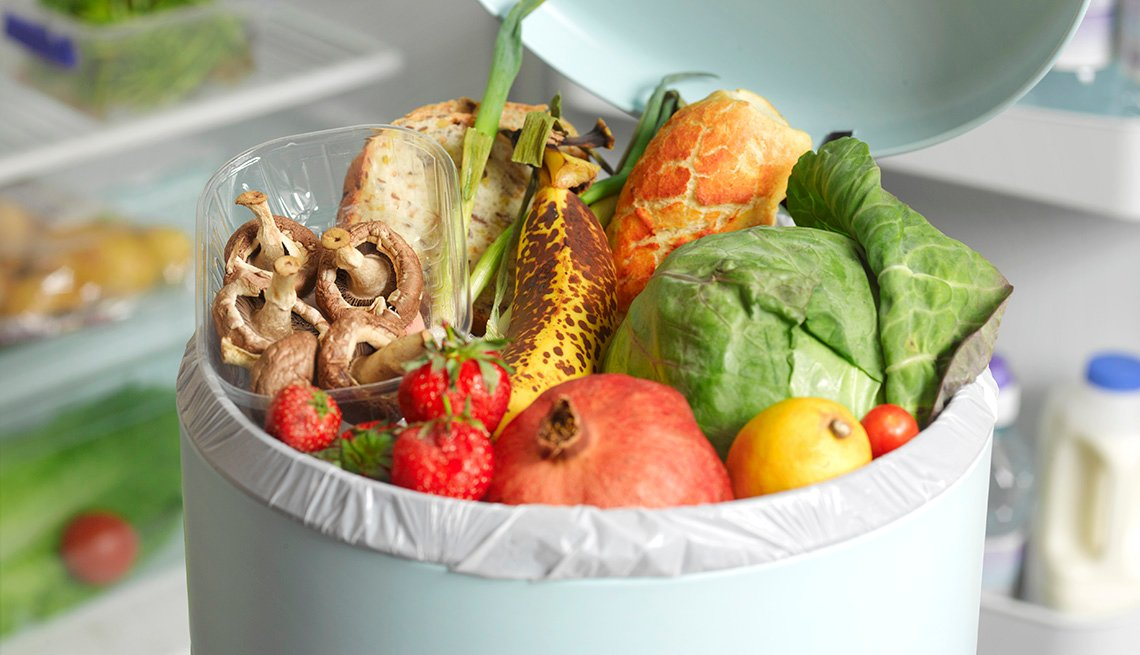 Fruits and vegetables in a trash can
