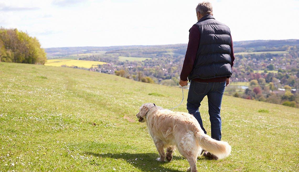 Un hombre camina con su perro