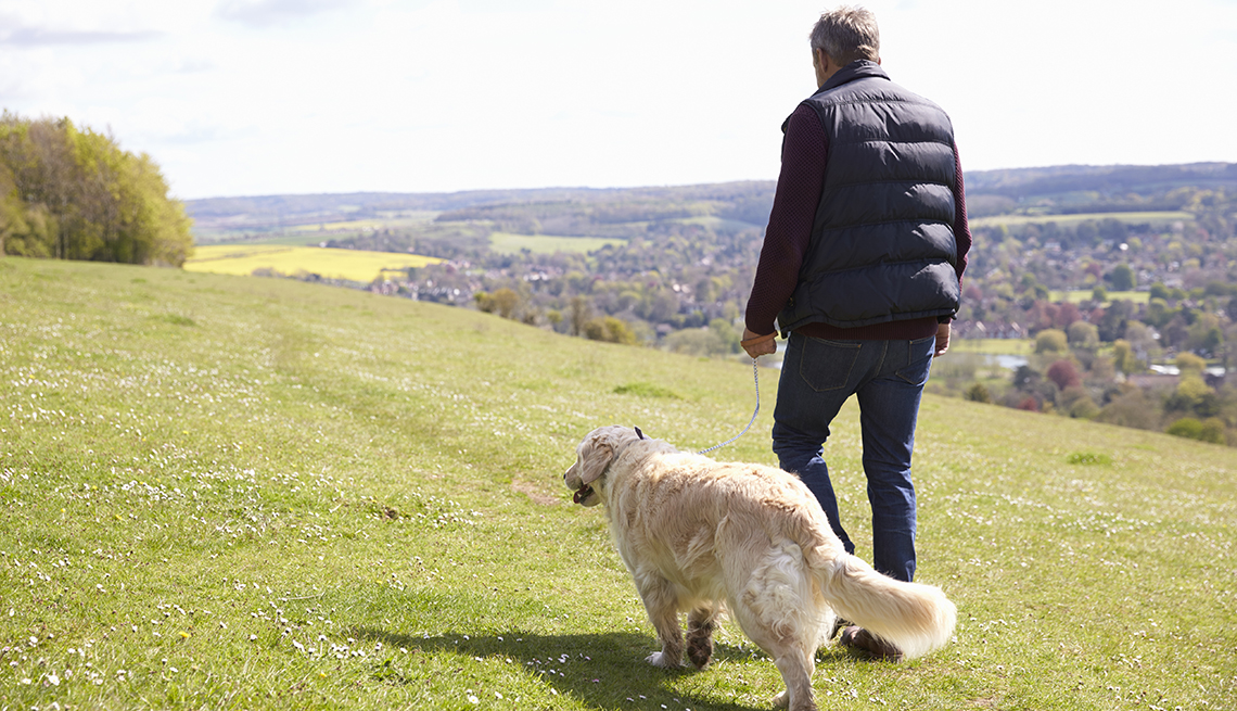 a man walking with a golden retriever
