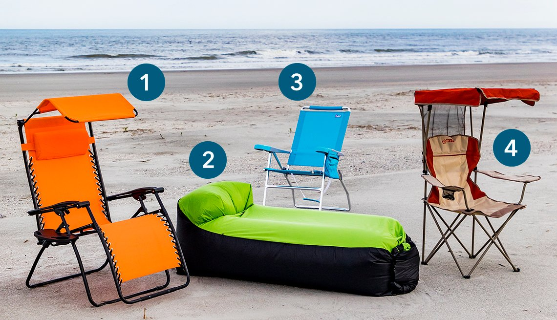 four different beach chairs on the beach