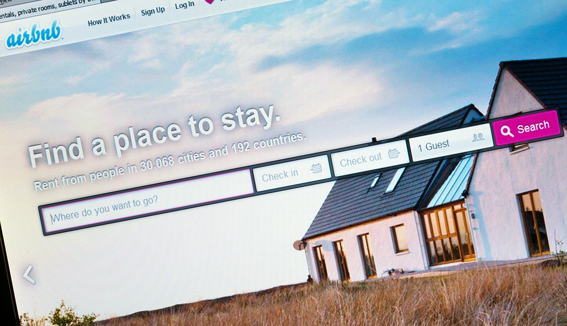 A screenshot of the Airbnb homepage