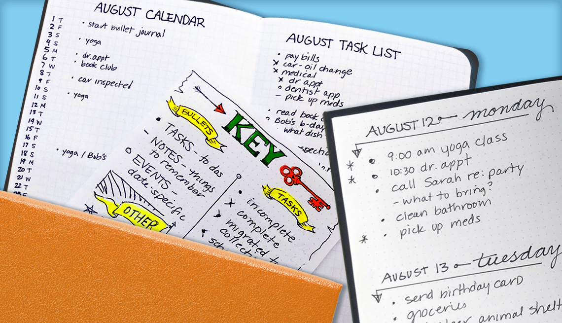Example of Bullet Journaling featuring an August calendar and a to-do list