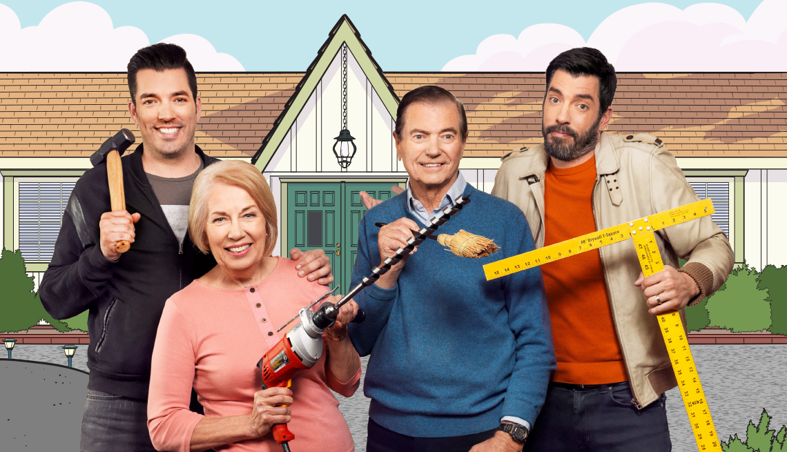 Property Brothers and their parents holding home improvement tools
