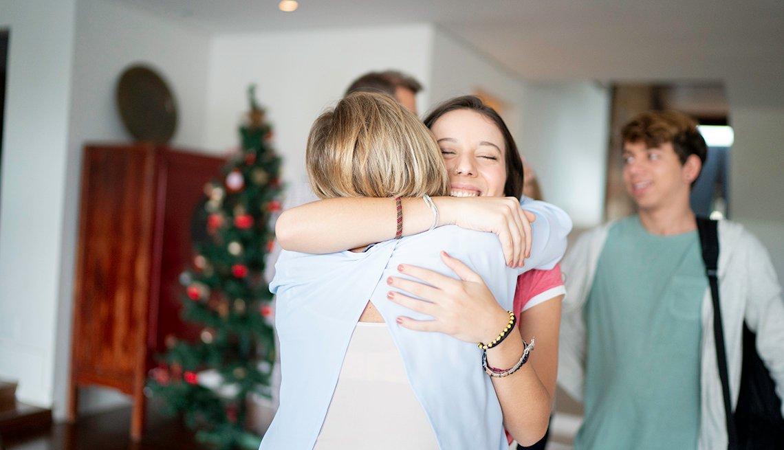 Family embracing at a Holiday gathering