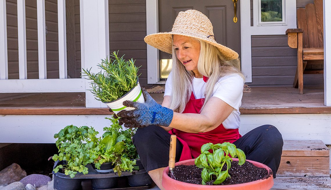 A woman gardening from home