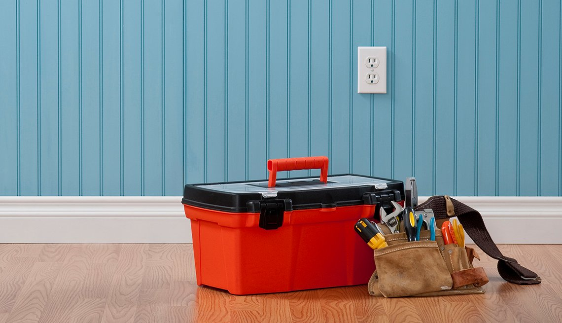Toolbox and toolbelt - home repair,  diy concept