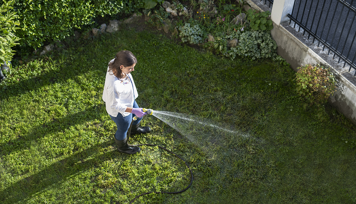 Aerial view of a woman watering garden with water hose.