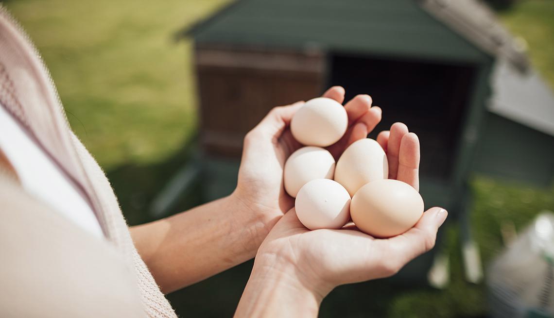 Un par de manos sosteniendo cinco huevos frescos