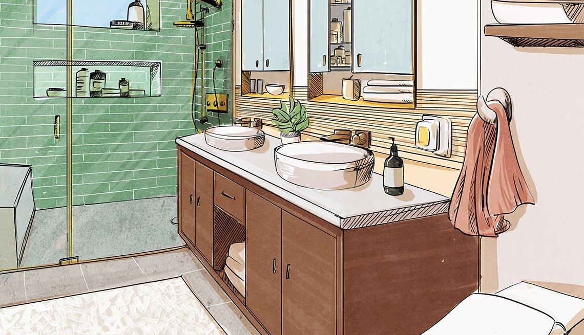 Boceto de diseño para un baño principal