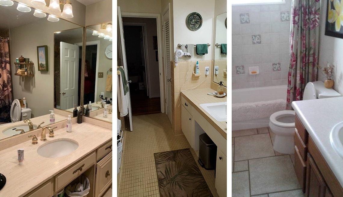Tres fotos de baños anticuados con detalles dorados, mostradores antiguos, inodoros bajos y mal uso del espacio