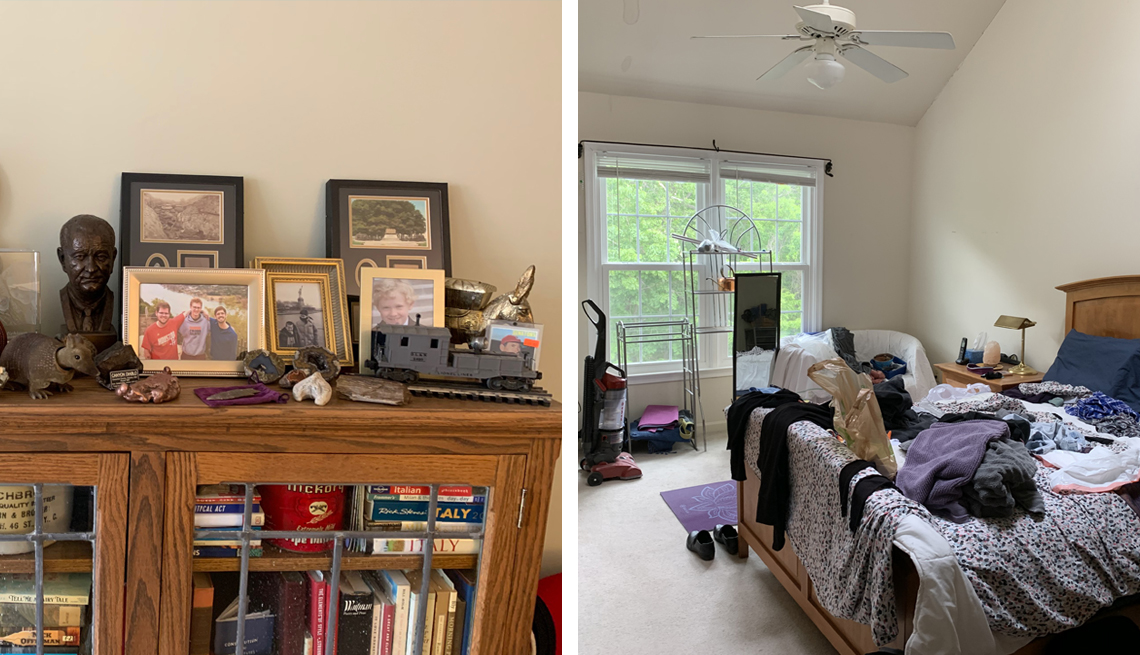 two images one of a cluttered dresser cabinet and another of a bed heaped with laundry