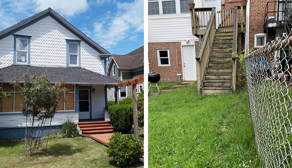 two photos one of the front of a house and one of a townhouse backyard with stairs and a chain link fence