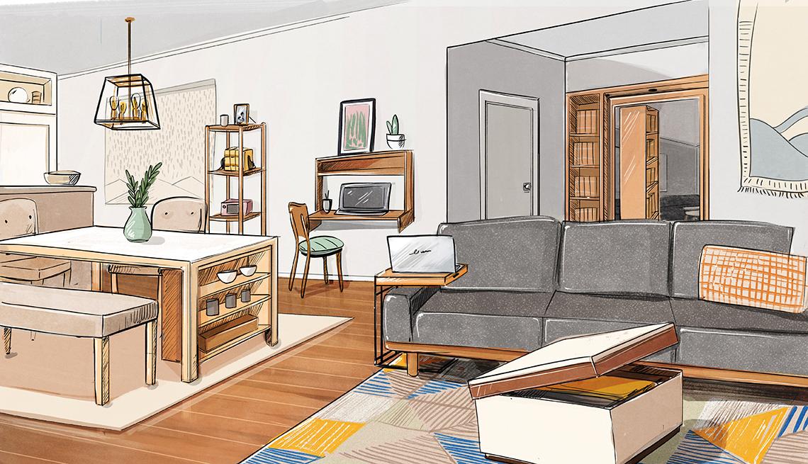 design sketch of a living room dining room area