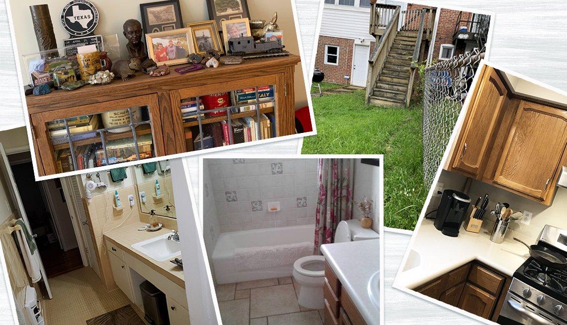 Collage de fotos de diferentes áreas de hogares que necesitan ser remodeladas