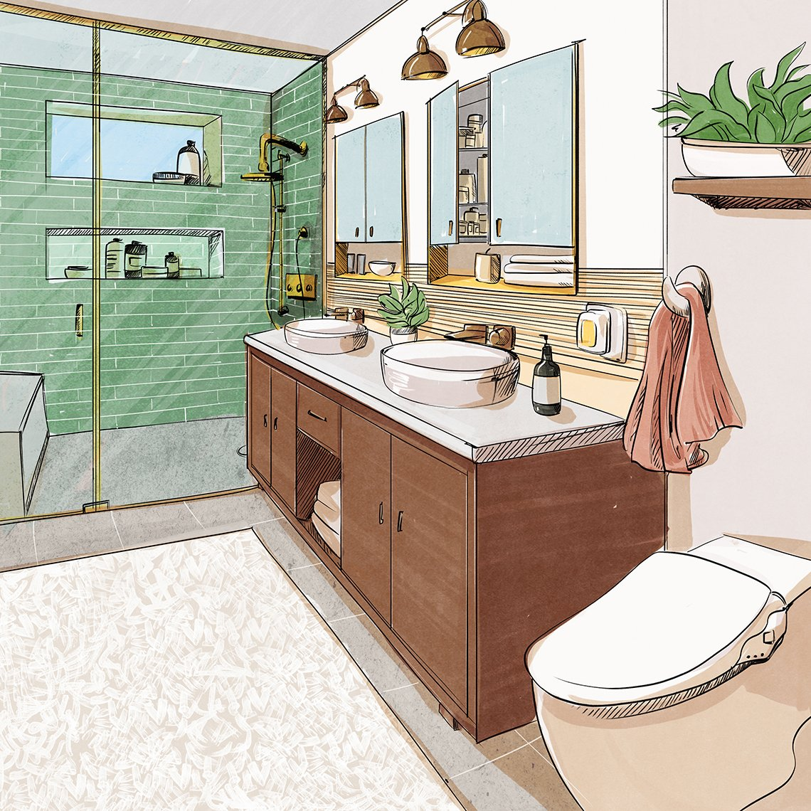 design sketch of a finished bathroom