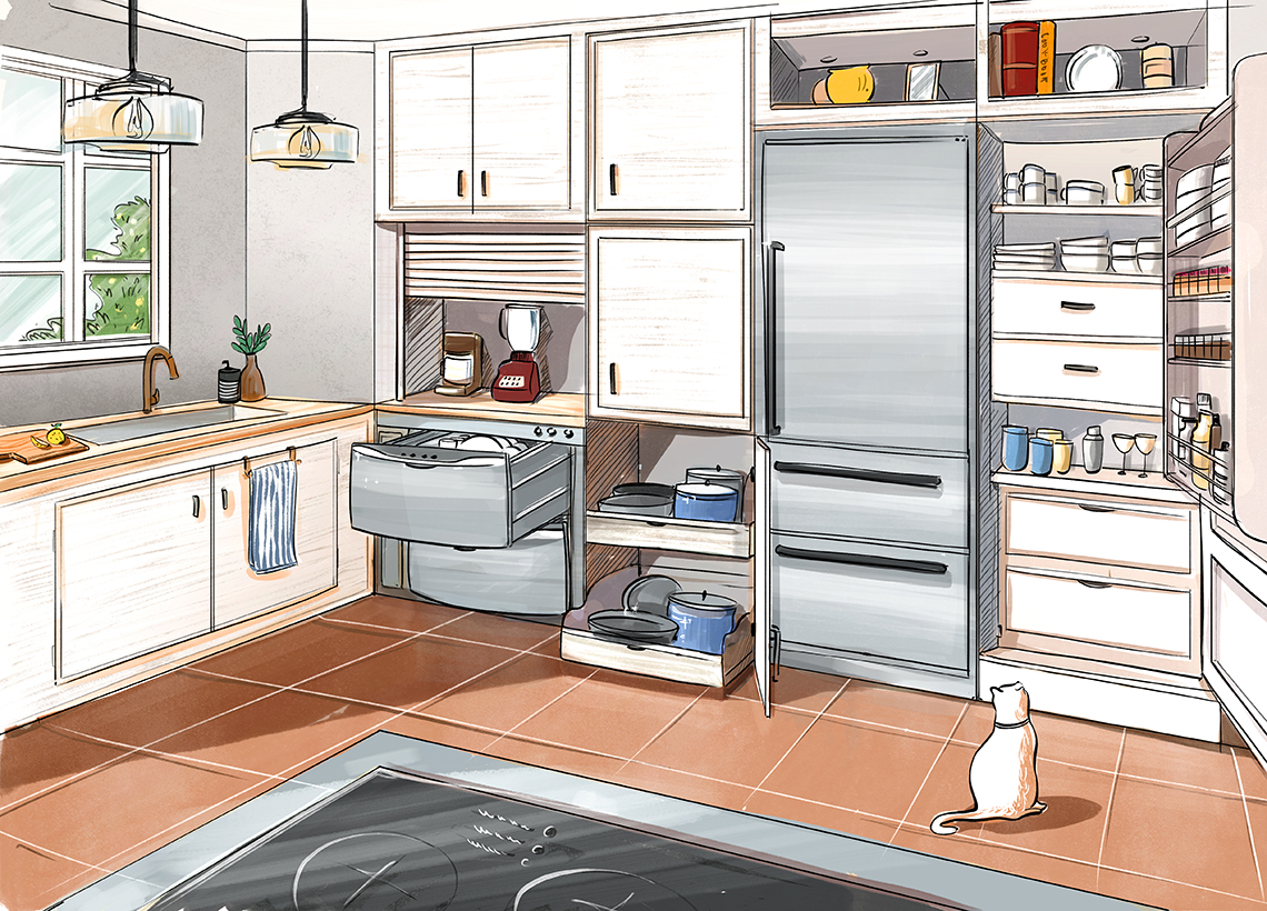 design sketch for a kitchen