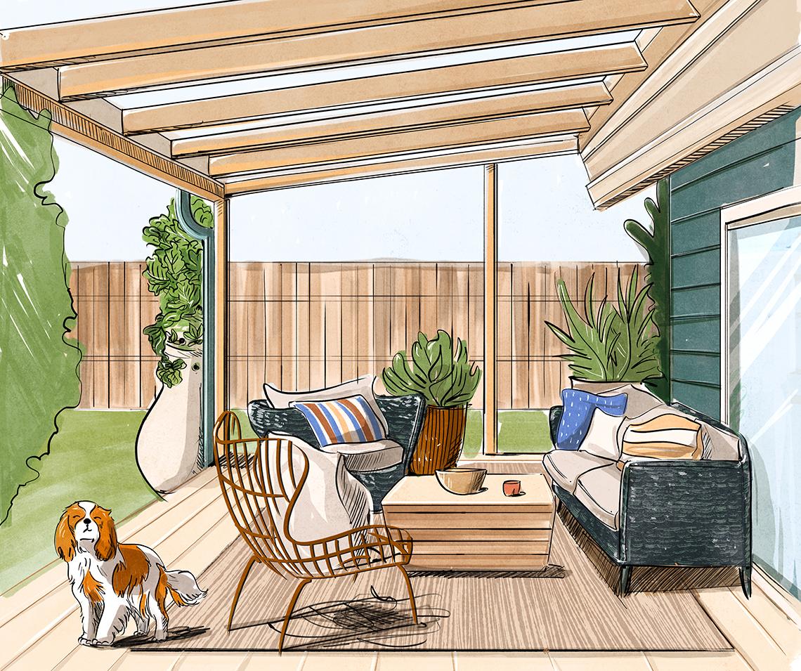 Boceto de diseño para un área al aire libre en la terraza de un patio
