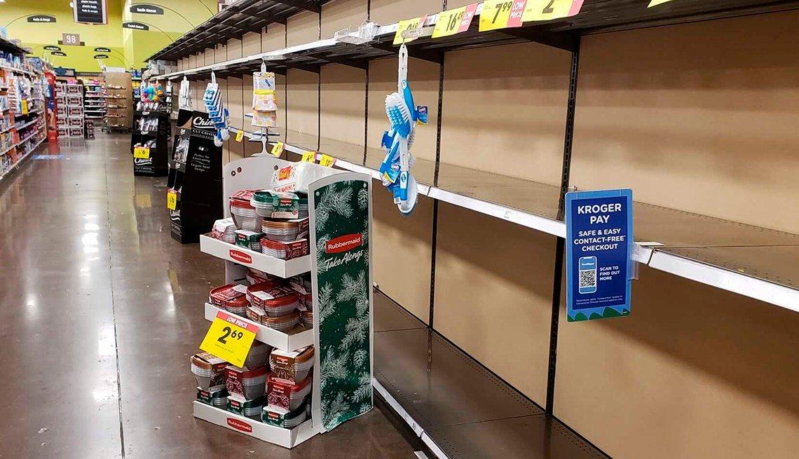 An empty shelf at a store