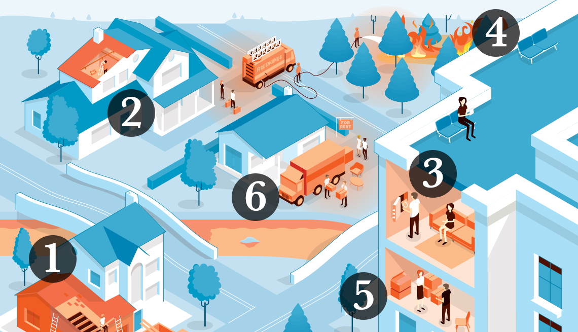 Graphic illustration of a community with homes