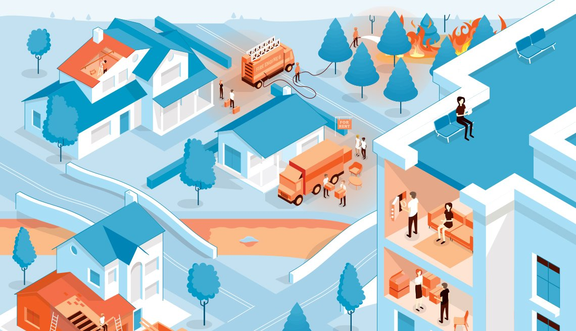 Graphic of a community with homes