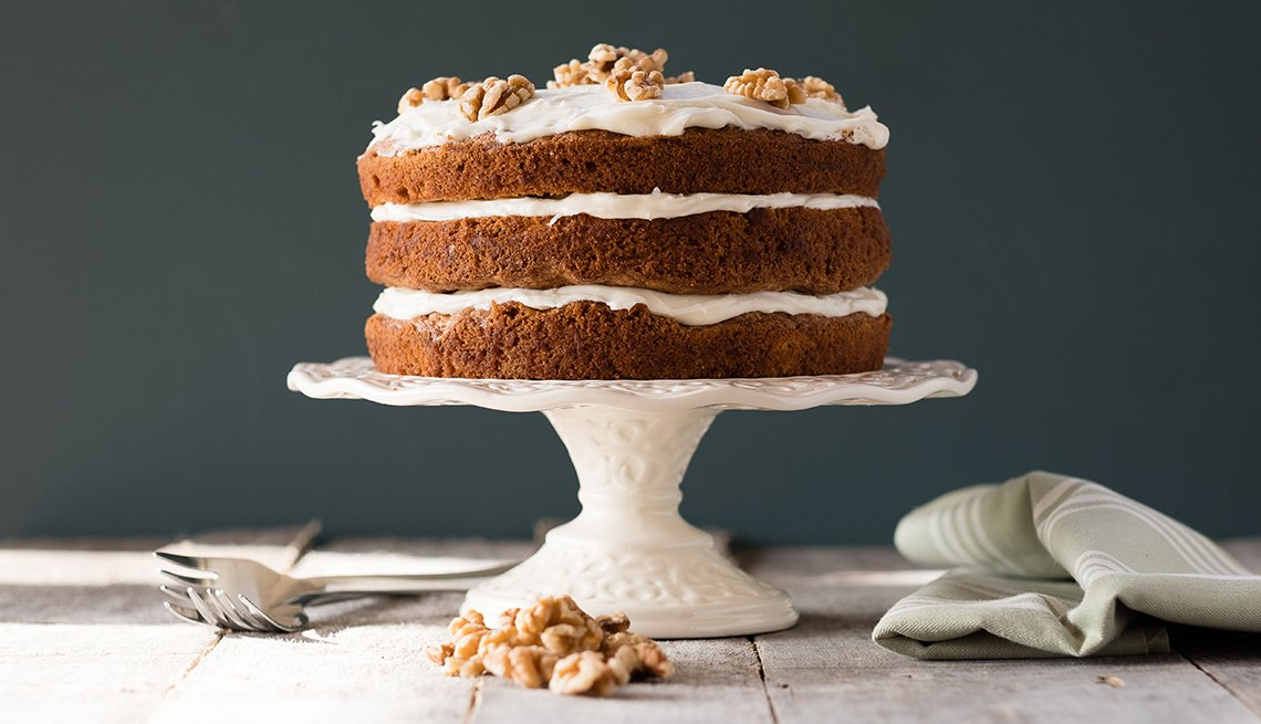 A carrot cake on display