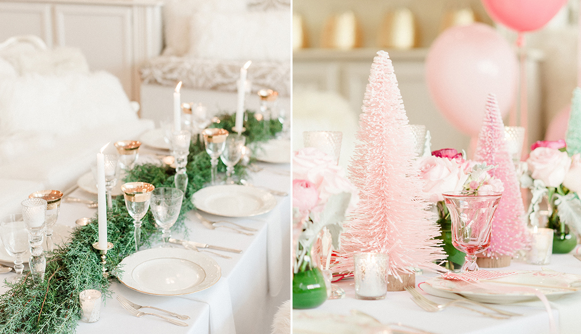 Two side by side images of tables nicely decorated