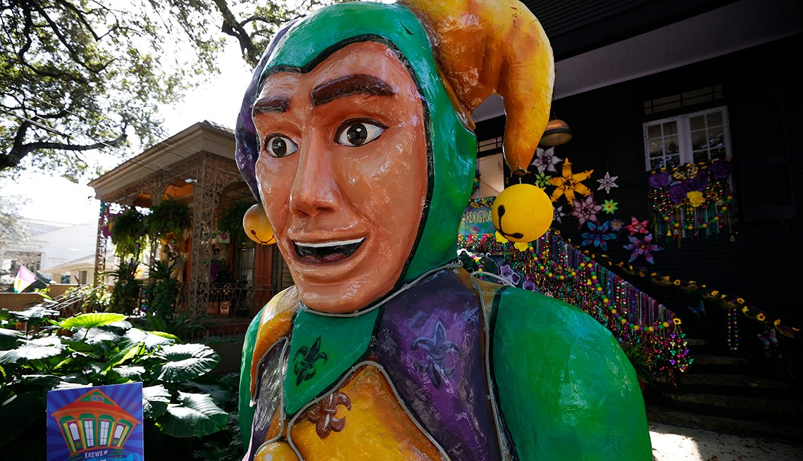 Houses are decorated as Mardi Gras floats featuring famous New Orleans personalities on January 30, 2021 in New Orleans, Louisiana.