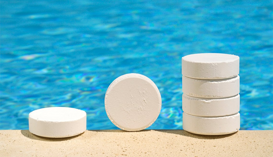 Chlorine tablets near a swimming pool