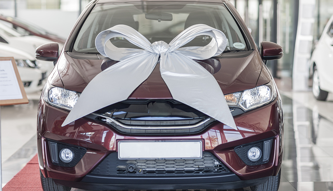 new car with bow