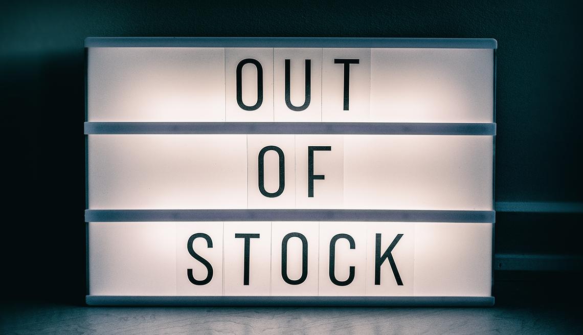 Letrero en inglés que dice -out of stock-