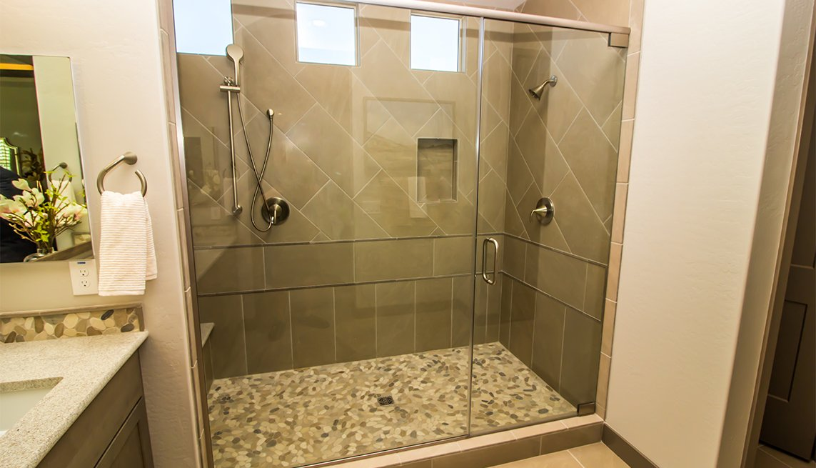 stand-up shower with glass door