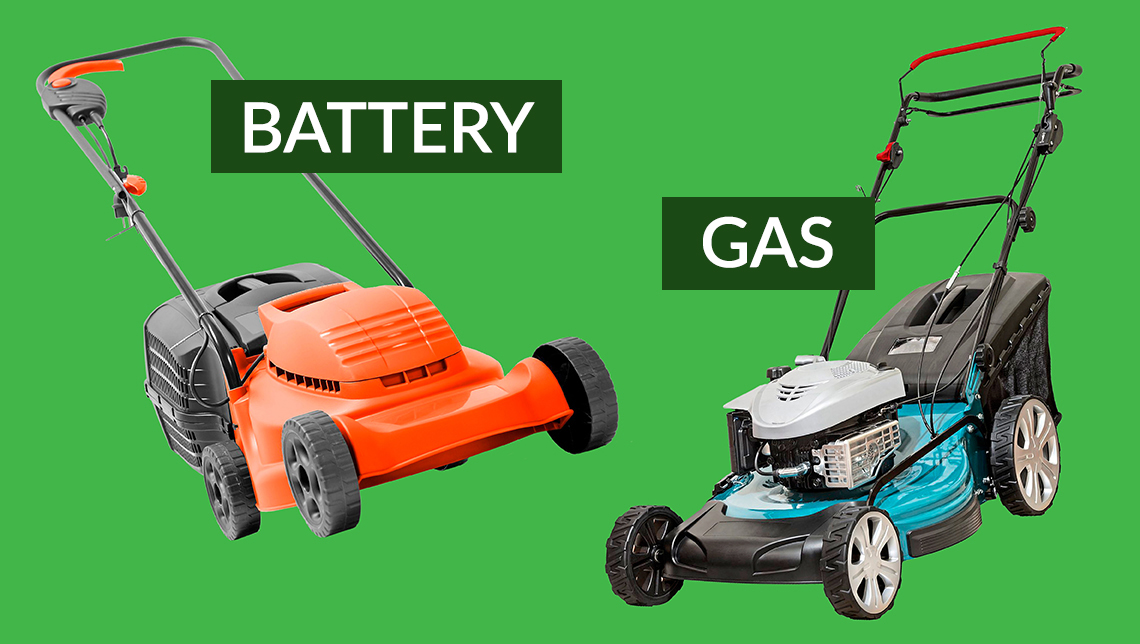 a battery powered lawn mower and a gas powered lawn mower