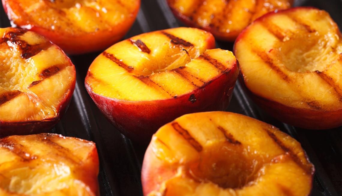 Fresh peaches on grill macro
