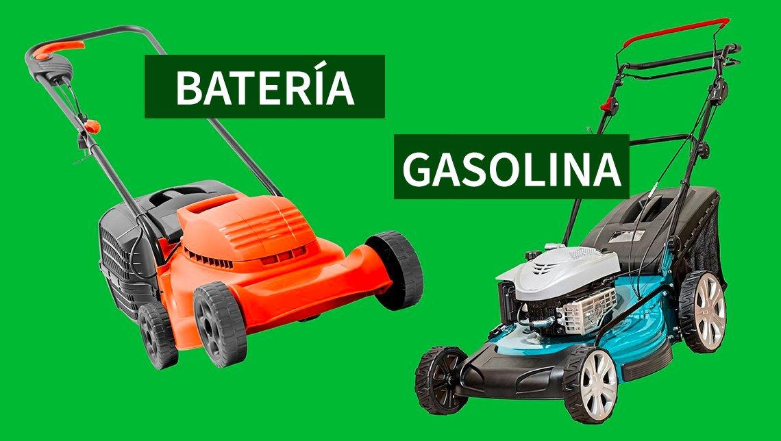 Dos cortadoras de césped, una que funciona con batería y otra con gas