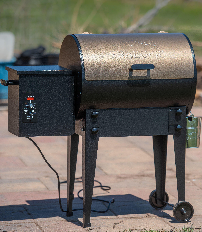 A Traeger wood pellet smoker grill