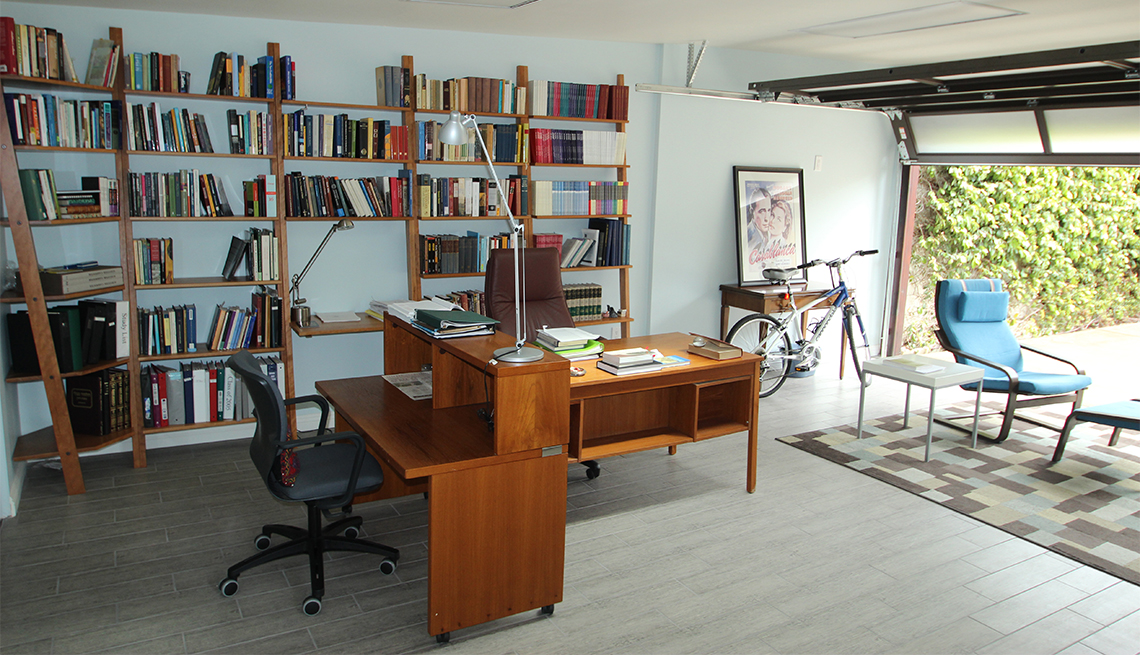 Home office in a garage