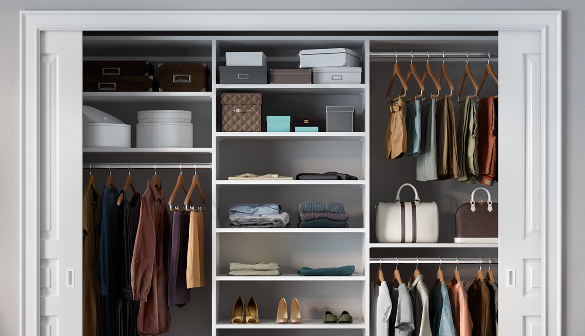 example of an organized closet with multi level hangar bars and shelves
