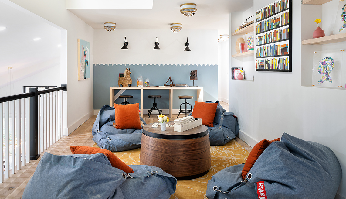 grown up fun room with low bean bag chairs