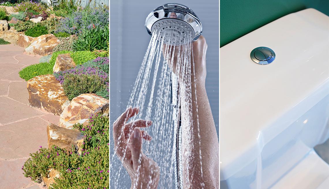 Tres imágenes de un patio, una ducha y un inodoro