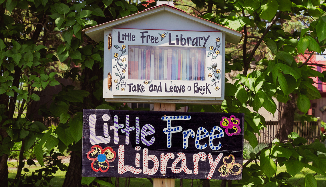 a small box filled with books in someones front yard with the sign little free library underneath